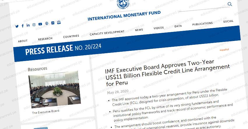 FMI aprobó Línea Preventiva por US$ 11 000 millones a Perú debido a sus sólidos fundamentos macroeconómicos