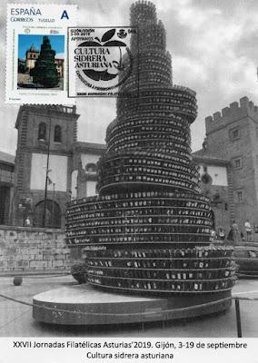 Tarjeta de las XXVII Jornadas filatélicas de Gijón, la sidra