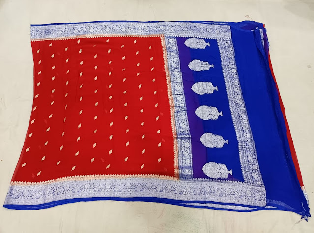 Pure Georgette Chiffon blue colour saree