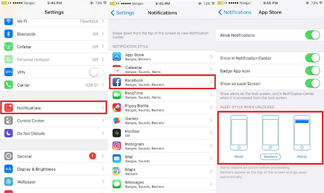 How to change Push Notifications Alert Style to Banner or Alert on iPhone in iOS 10 or below. Go to Settings.Tap Notifications and you will see the list of apps on your iPhone that you have installed. Select any specific app you want to change push notification style alert