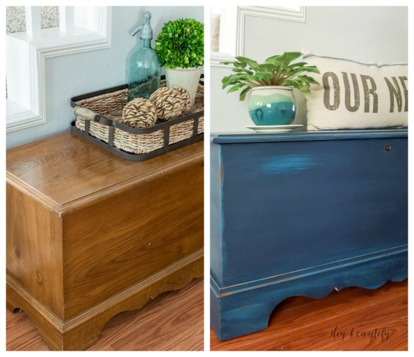chalky painted trunk before and after