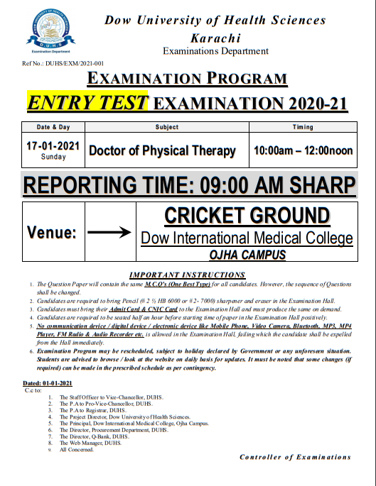 DOW University Entry Test Exam 2020-21 DPT