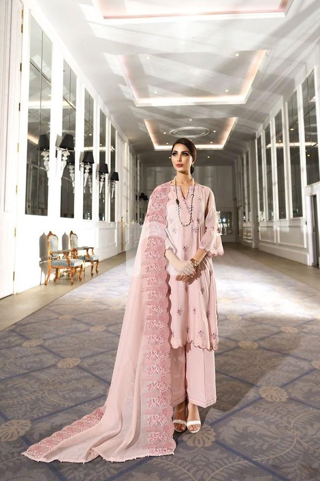 Nishatlinen Unstitched Luxury Pink Suit
