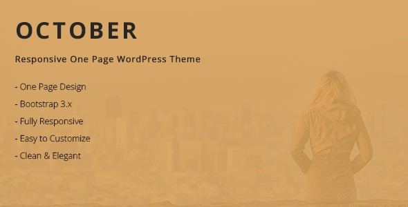 October Responsive One Page Wordpress Themes