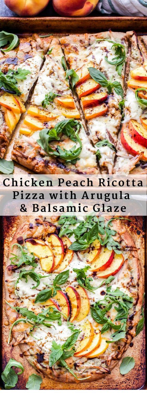 Chicken Peach Ricotta Pizza With Arugula And Balsamic Glaze