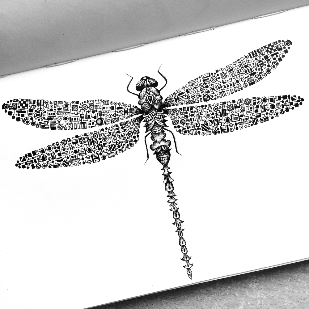 16-Dragonfly-Pavneet-SembhiSelf-taught-Artist-Creates-Intricate-and-Detailed-Drawings-www-designstack-co