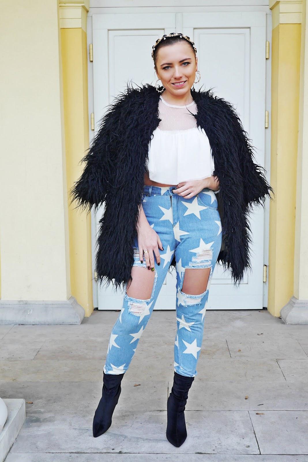 black fur star denim pants wgite mesh top headband earings karyn fashion blogger