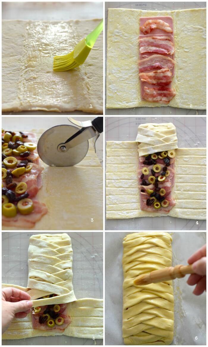 Paso a paso en la elaboración de la trenza de hojaldre y jamón