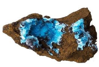 Auricalcita en cristales rellenando cavidades rocosas