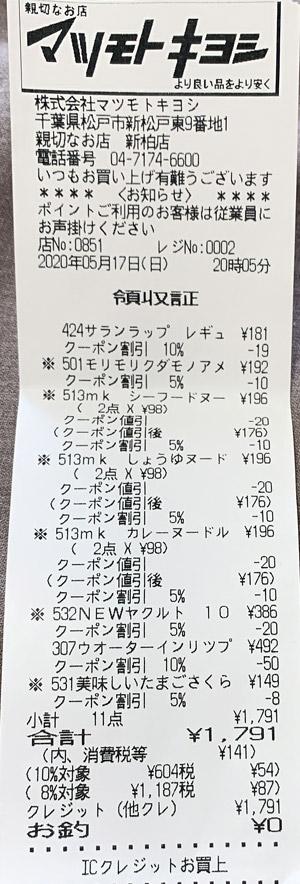 マツモトキヨシ 新柏店 2020/5/17 のレシート