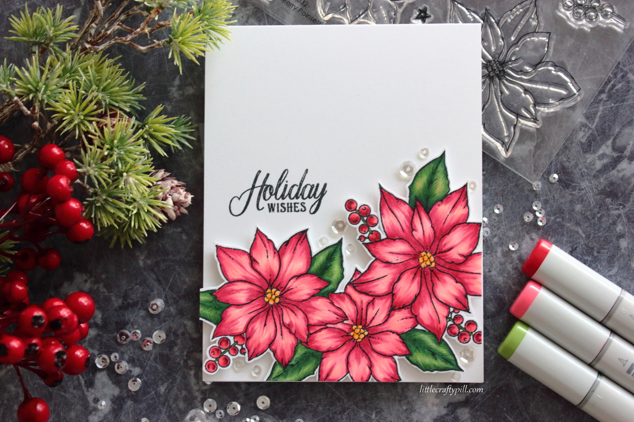 Little Crafty Pill Coloring Poinsettias With Copic Markers