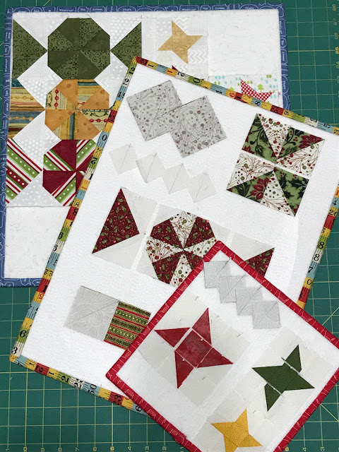 Demo Boards Displaying Step Outs of the Peppermint Candies & Twinkle Stars Block For A Scrappy Happy Holidays Mystery Sew Along by Thistle Thicket Studio. www.thistlethicketstudio.com