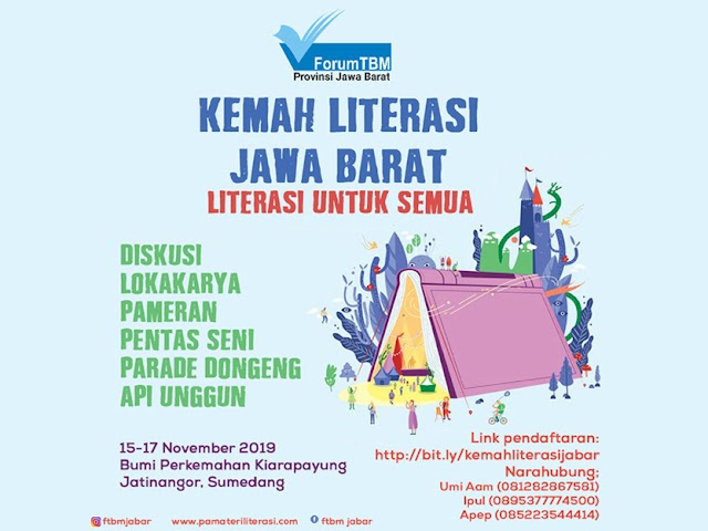 Kemah Literasi Jawa Barat Bakal Digelar di Buper Kiarapayung 15-17 November 2019
