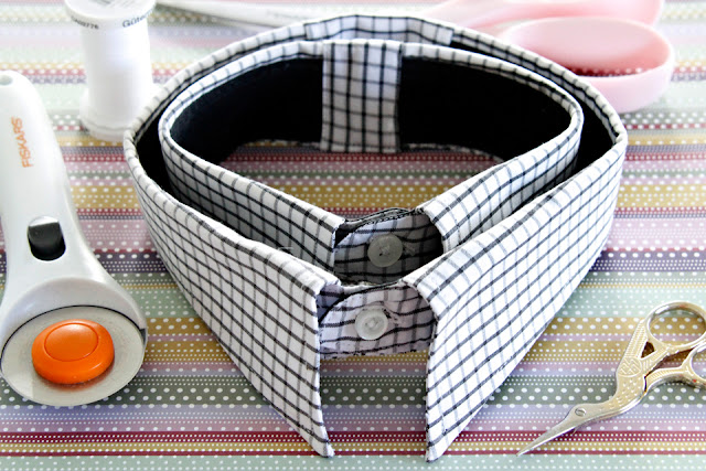 Men's dress shirt collars (resized large and small) with sewing supplies