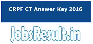 CRPF CT Answer Key 2016