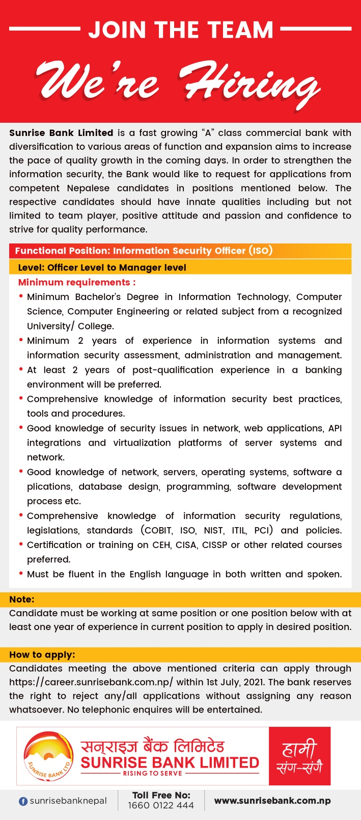 Sunrise Bank Limited Job Vacancy for Information Security Officer (ISO)