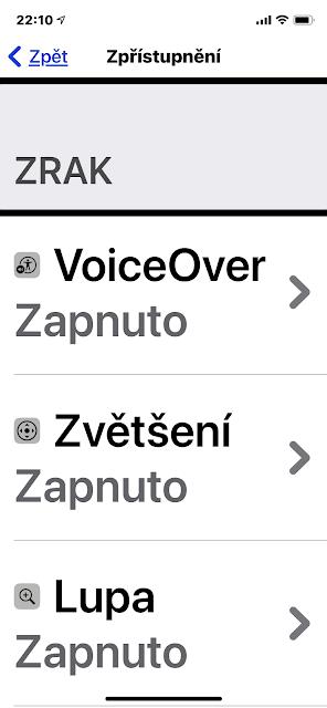 Seznam Zpřístupnění  v iOS14