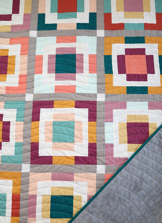 Rise and Shine quilt in Kona cotton solids by Andy of A Bright Corner - pattern from the Playful Precut Quilts book by Amanda Niederhauser