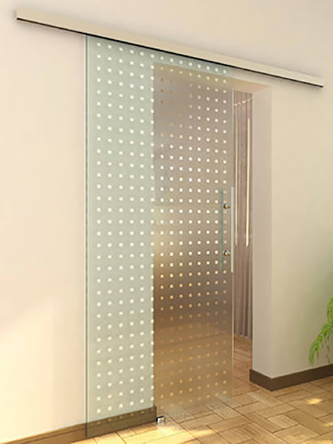 Sliding glass door with ornament