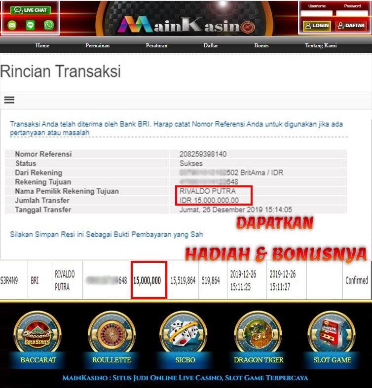 Selamat Kepada Member Setia MAIN KASINO Withdraw RP 15.000.000