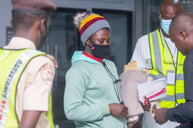 Nigerian Lady Trafficked To Egypt Returns Home With The Help Of NiDCOM (Photos)