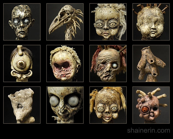 cabeça de boneca,horrorosa,boneca,pano,caveira,preto,rock,gotico,art,feia