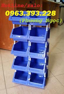 Kệ dụng cụ xếp chồng, khay linh kiện có tắc kê, hộp nhựa cơ khí F17b7a03b9e05bbe02f1