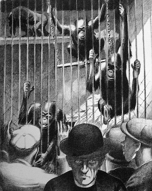 Mabel Dwight 1928 art, a Christian leader at a zoo monkey cage