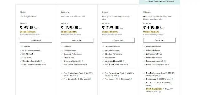godaddy hosting pricing plan