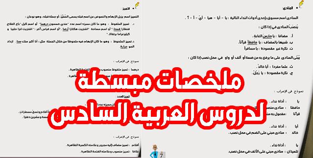 دروس العربية السادس ابتدائي: اسم زمان ومكان، اسم الفاعل والمفعول، التمييز، المنادى