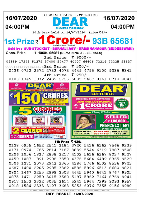 Sikkim State Lotteries 16-07-2020 Lottery Sambad Result 04:00 PM
