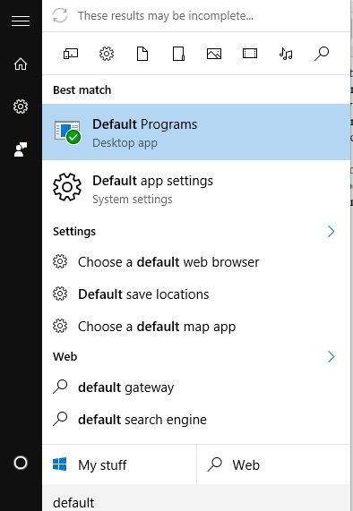 Windows 10 default apps setting