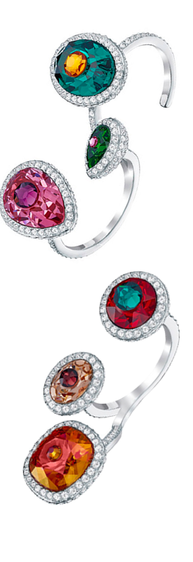 SWAROVSKI LUMINOUS FAIRY OPEN RING, MULTI-COLORED, RHODIUM PLATING