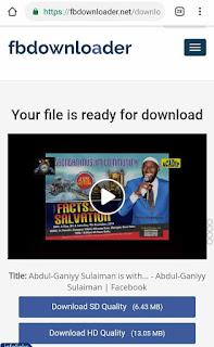 download page for facebook video on FB downloader website