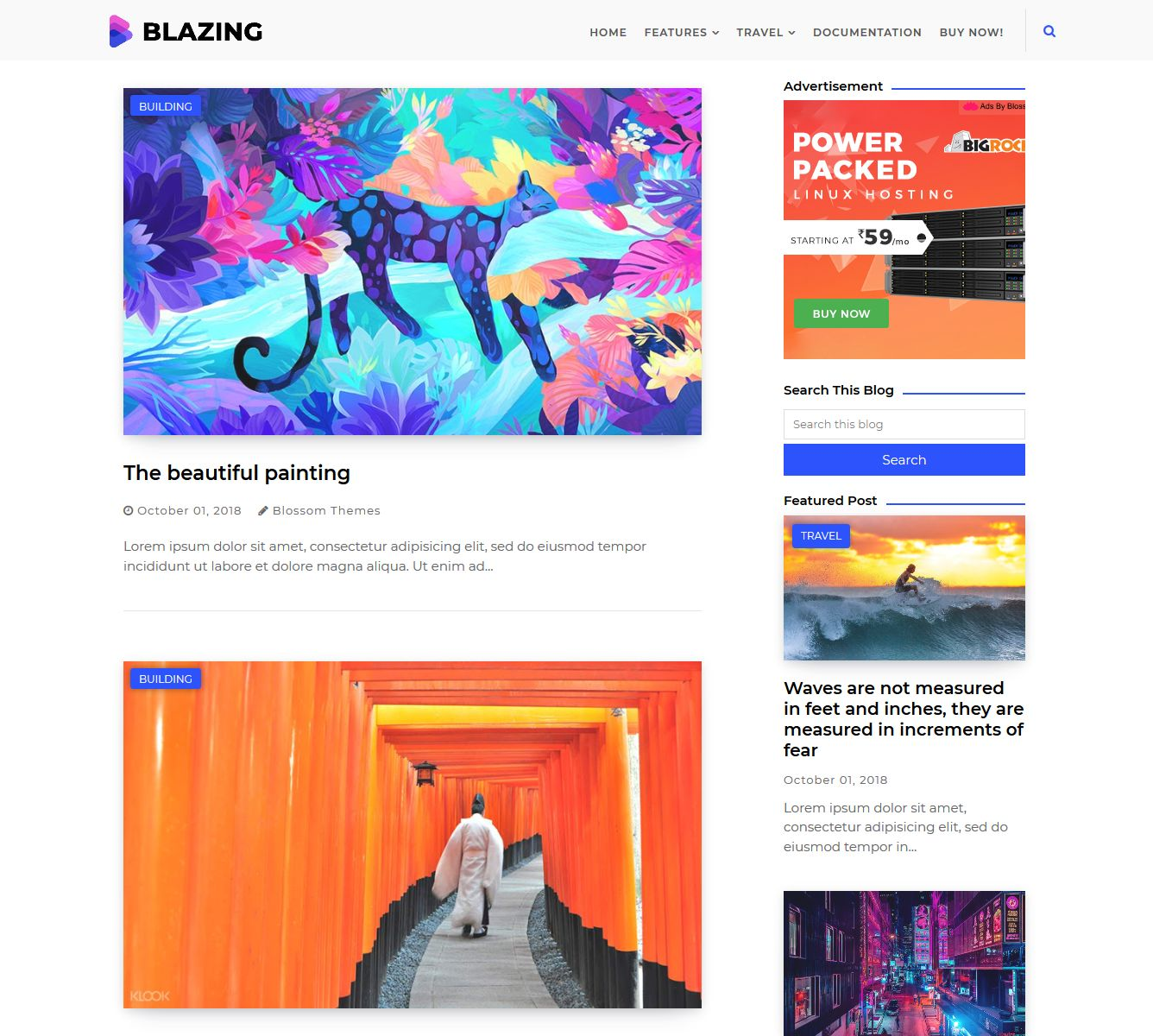 Blazing Blogger Template