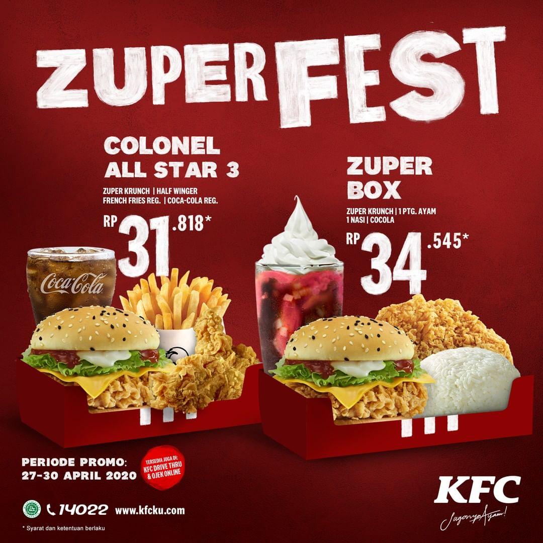 Promo KFC Zuper Fest Paket Spesial Colonel All Star 3 & Zuper Box Periode 27 - 30 April 2020