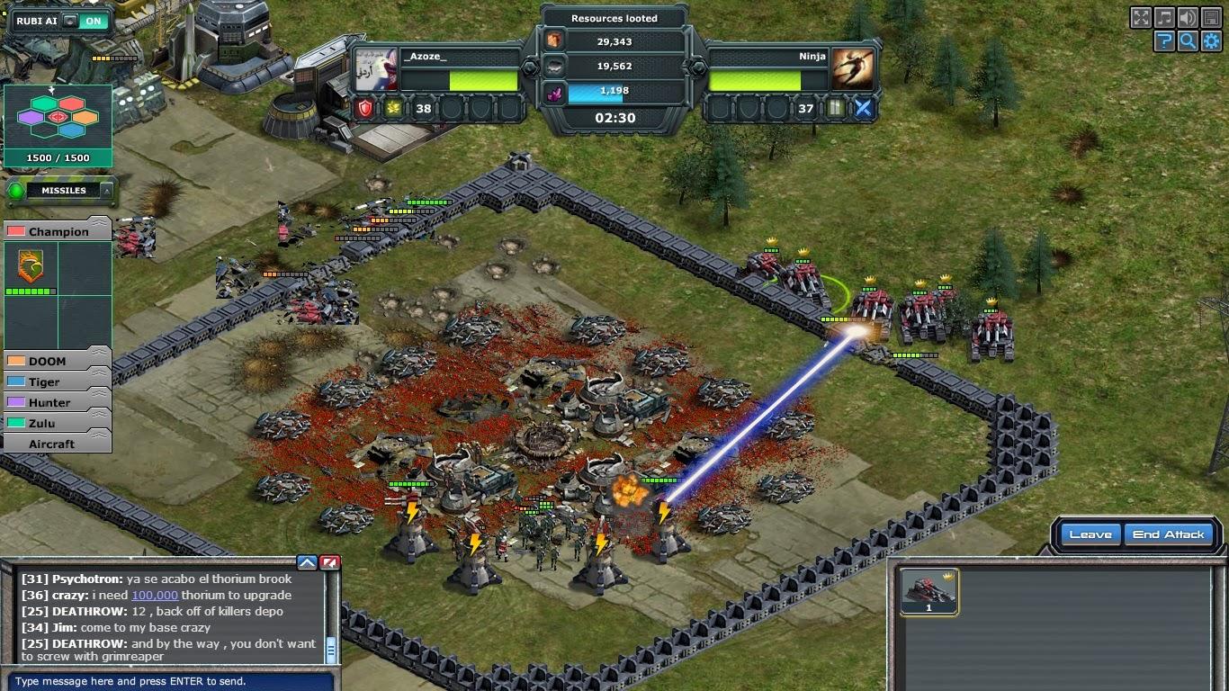 War commander bubbled base design under attack by elite mega tanks