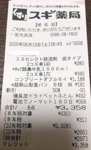 スギ薬局 一宮大浜店 2020/6/13 のレシート