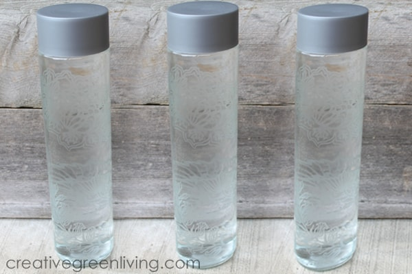 DIY Glass Water Bottle - how to upcycle a Voss water glass bottle into something beautiful