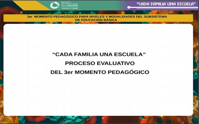 PROCESO EVALUATIVO DEL 3er MOMENTO PEDAGÓGICO PARA NIVELES Y MODALIDADES DEL SUBSISTEMA  DE EDUCACIÓN BÁSICA