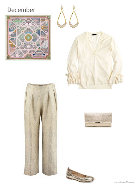 a cream sweater with gold brocade trousers