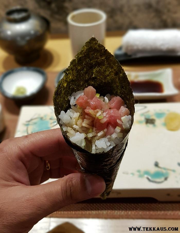 Miyabi Sheraton PJ Chopped Bluefin Tuna Belly With Leek Hand Roll Sushi