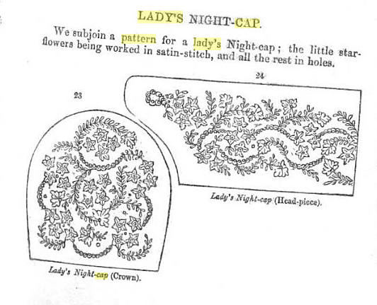 1859 Nightcap from The Young Lady's Book.