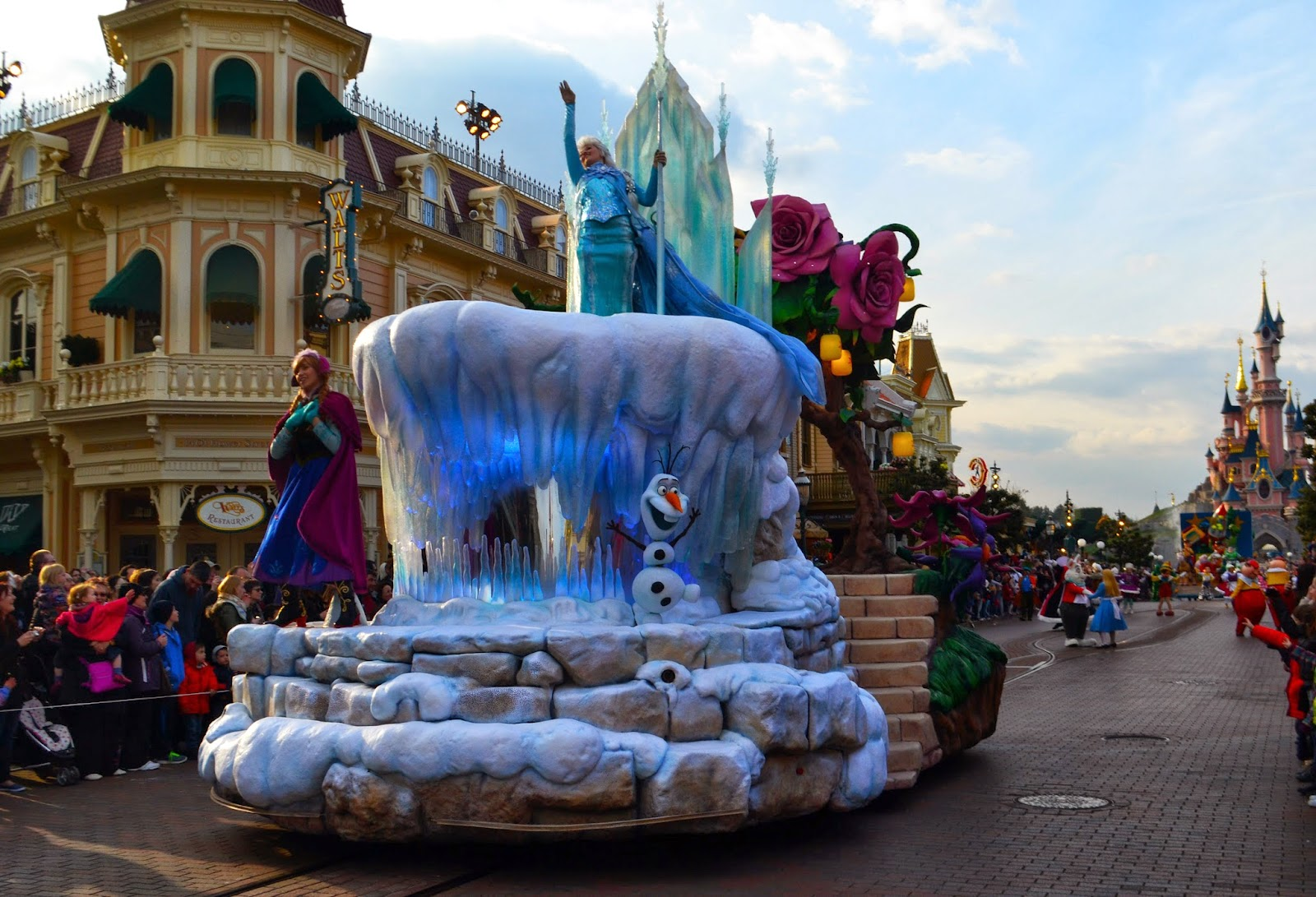 the frozen float. Anna Elsa and Olaf can be seen riding this float