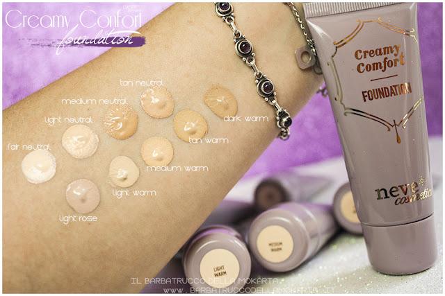 swatches creamy confort foundation Fondotinta Neve Cosmetics