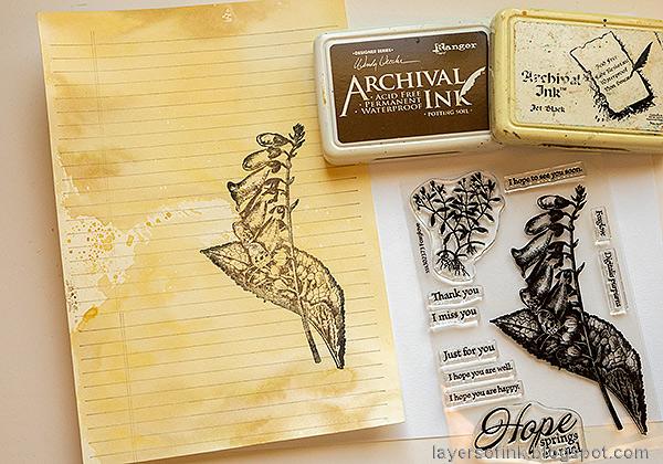 Layers of ink - Vintage Foxglove Art Journal Tutorial by Anna-Karin Evaldsson. Stamp with Simon Says Stamp Foxglove.