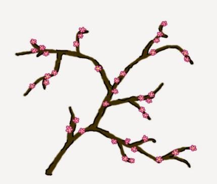Digitális rajz a japán Sakura ünnephez kapcsolódóan a kivirágzott tavaszi cseresznyefa rózsaszínben pompázó ágáról.
