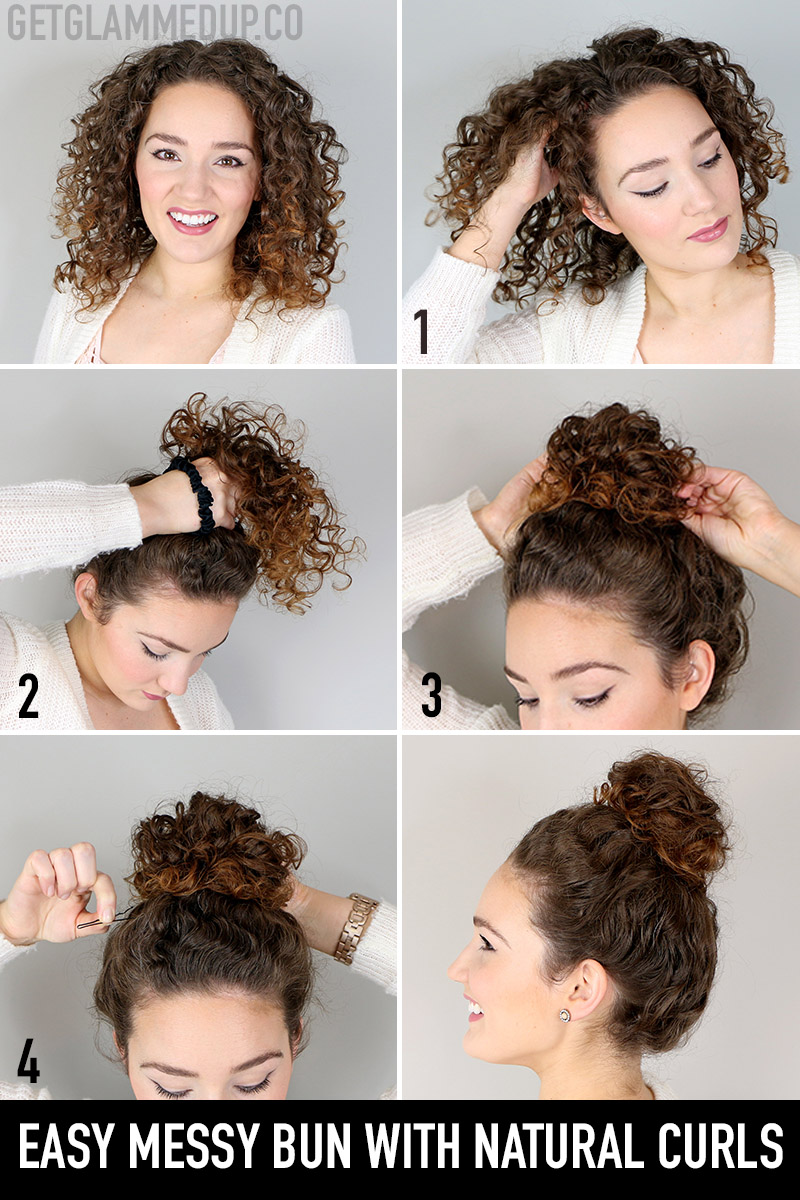 Easy messy bun hairstyle tutorial for natural curls
