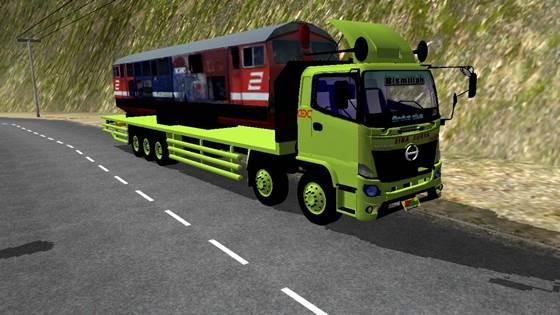 mod truck bussid hino 500 ng tribal angkut kereta lokomotif