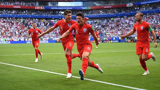 Harry Maguire menjadi pembuka keran gol bagi Inggris saat melawan Swedia
